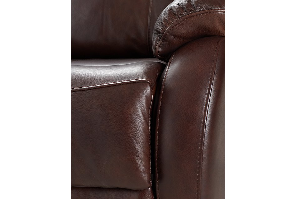 Dalton Medium Brown  LTHR/VINYL Medium Triple Power 2-Arm Sectional