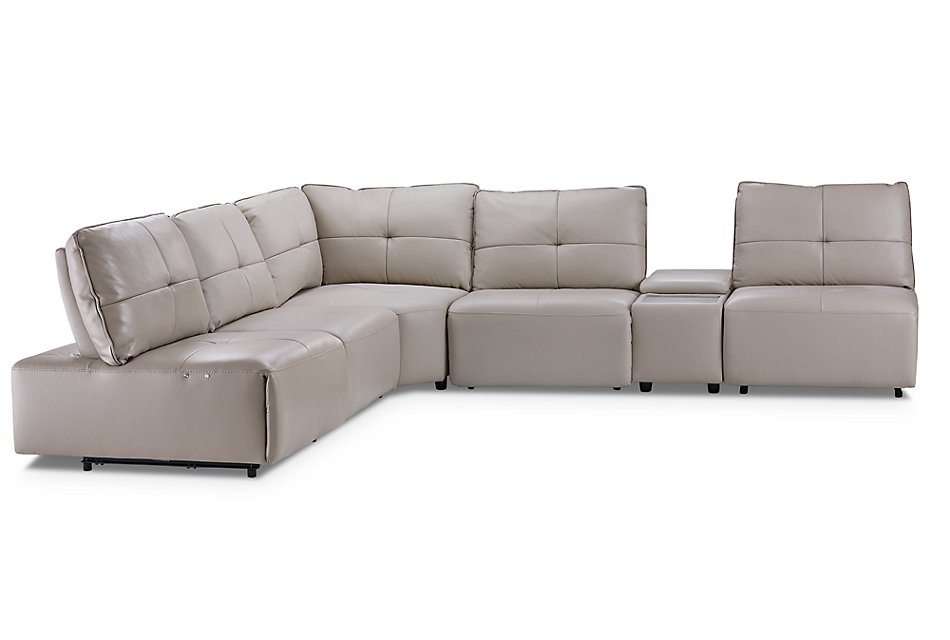 Peachy Trice Taupe Lthr Vinyl Medium Triple Power Sectional Caraccident5 Cool Chair Designs And Ideas Caraccident5Info