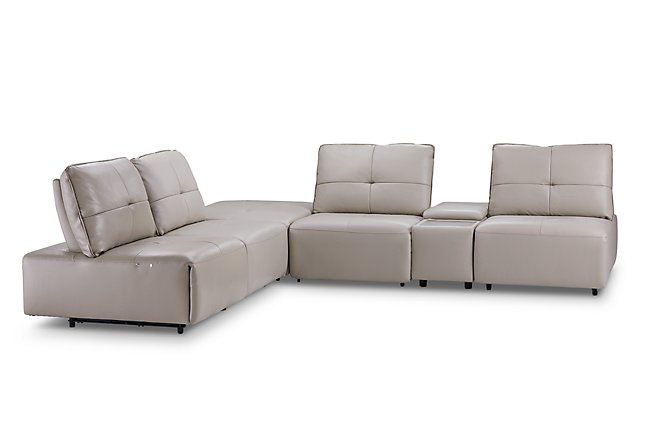 Fantastic Trice Taupe Lthr Vinyl Medium Dual Power Ottoman Sectional Onthecornerstone Fun Painted Chair Ideas Images Onthecornerstoneorg