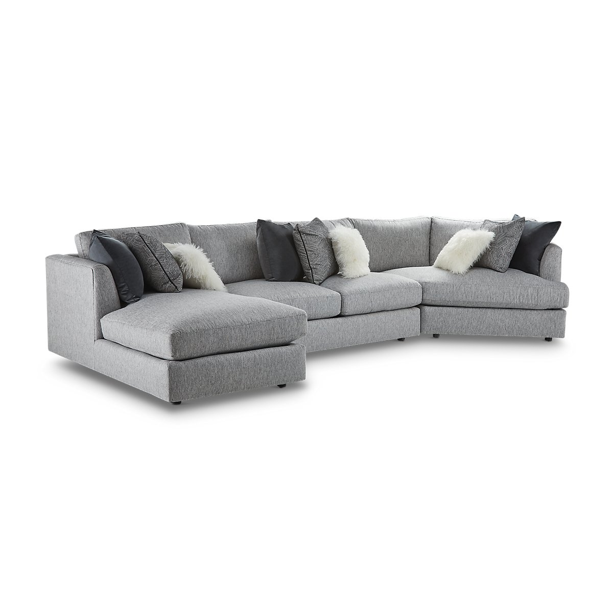 Sydney Gray Fabric Left Facing Chaise Cuddler Sectional Living