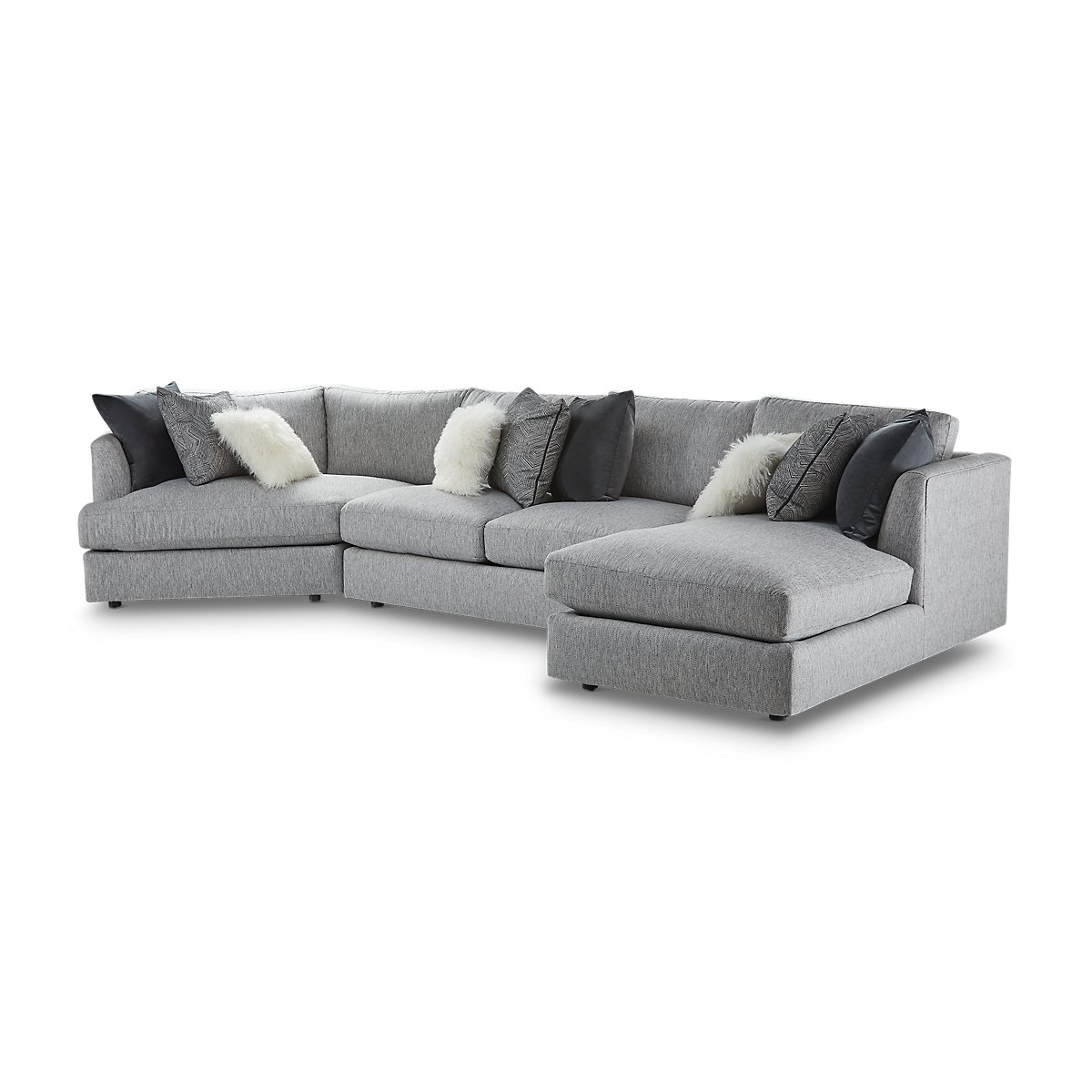 Sydney Gray Fabric Right Facing Chaise Cuddler Sectional Living