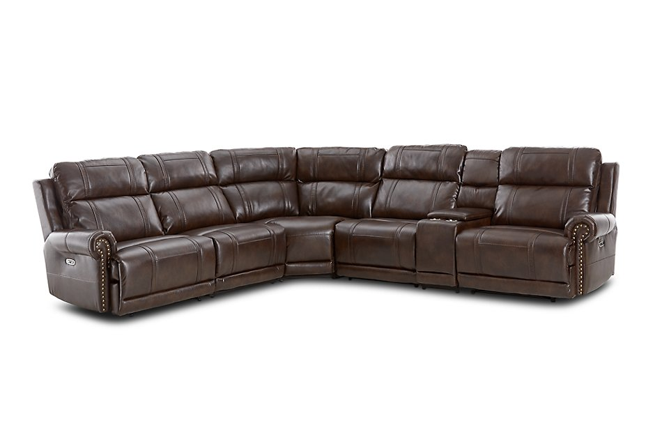 Hunter Dark Brown  MICRO Medium Triple Power 2-Arm Sectional