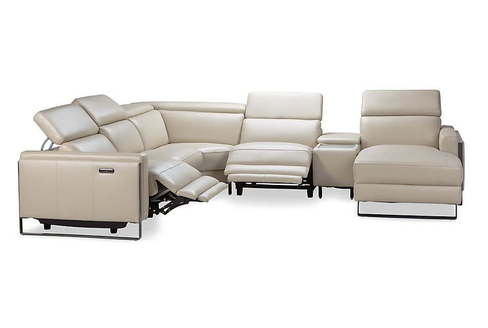 Atlas TAUPE LTHR/VINYL Medium Power Reclining Right Chaise Sectional