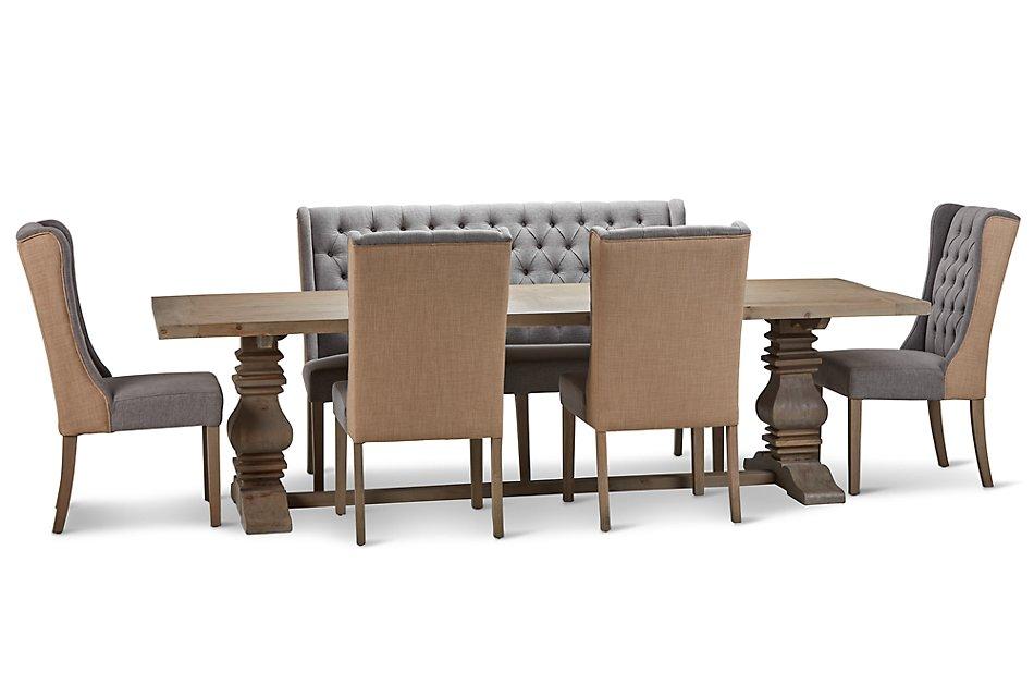 Remarkable Hadlow Gray 110 Table 4 Tufted Chairs Bench Dining Room Inzonedesignstudio Interior Chair Design Inzonedesignstudiocom