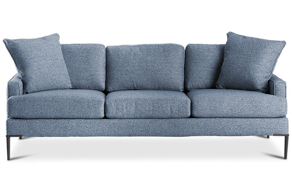 Morgan BLUE FABRIC Sofa with Metal Legs | Living Room ...