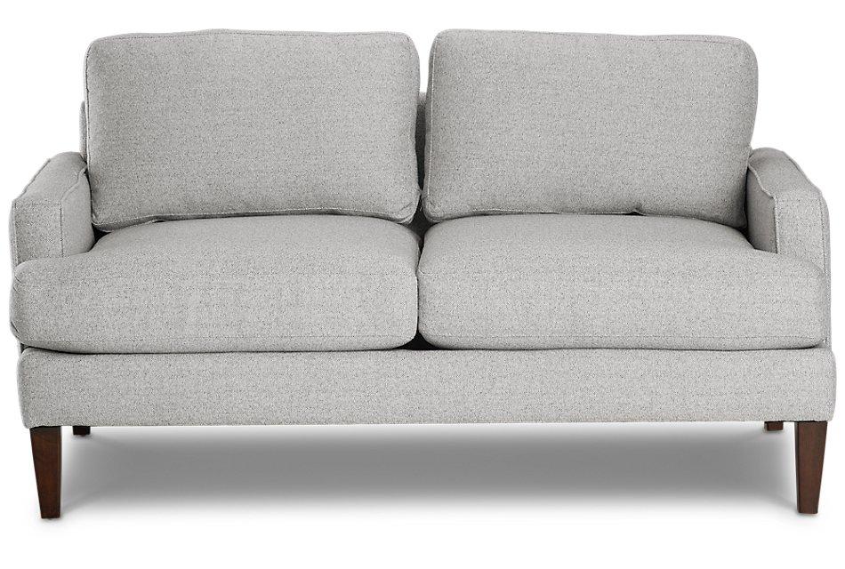 Brilliant Morgan Light Gray Fabric Small Sofa With Wood Legs Living Frankydiablos Diy Chair Ideas Frankydiabloscom