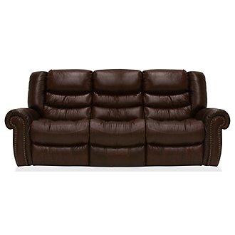Peyton2 Dark Brown Leather & Vinyl Reclining Sofa
