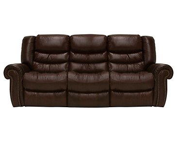 Peyton2 Dark Brown Leather & Vinyl Power Reclining Sofa