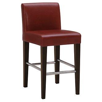 "Kyle Red Bonded Leather 24"" Upholstered Barstool"