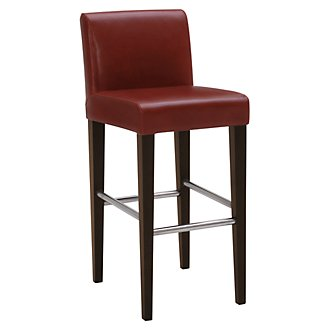 "Kyle Red Bonded Leather 30"" Upholstered Barstool"