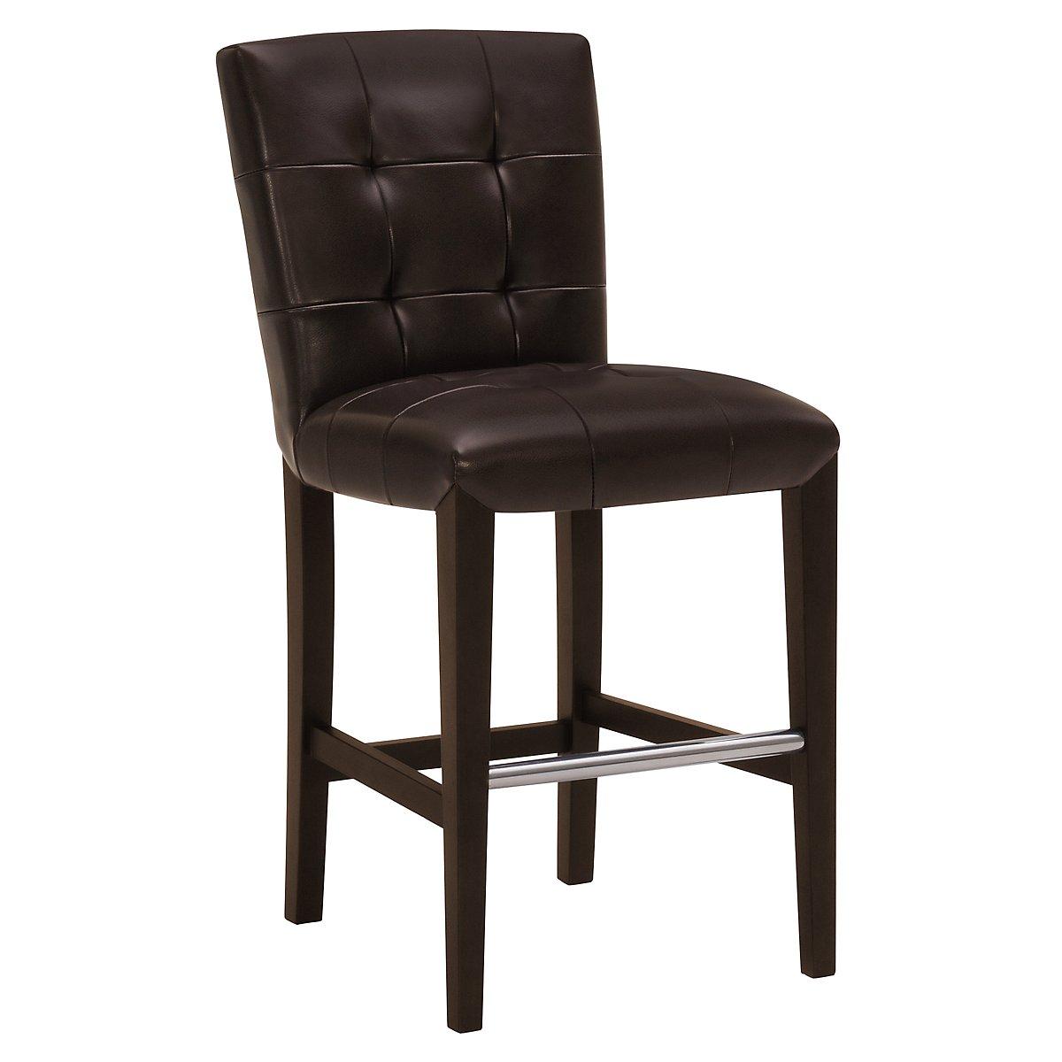 "Trisha Dark Brown Bonded Leather 24"" Upholstered Barstool"