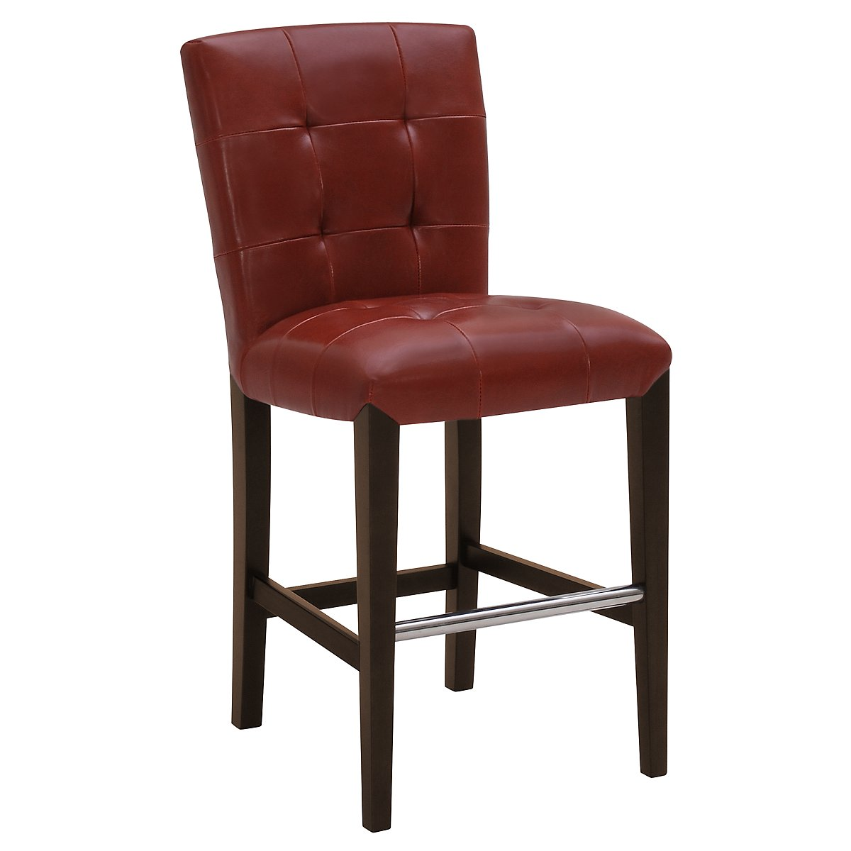"Trisha Red Bonded Leather 24"" Upholstered Barstool"