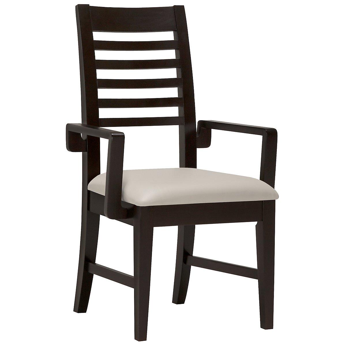 Encore2 Dark Tone Bonded Leather Slat Arm Chair