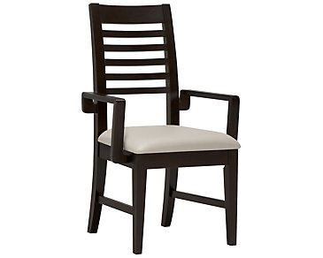 Encore2 Dark Tone Bonded Leather Slat Arm Chair