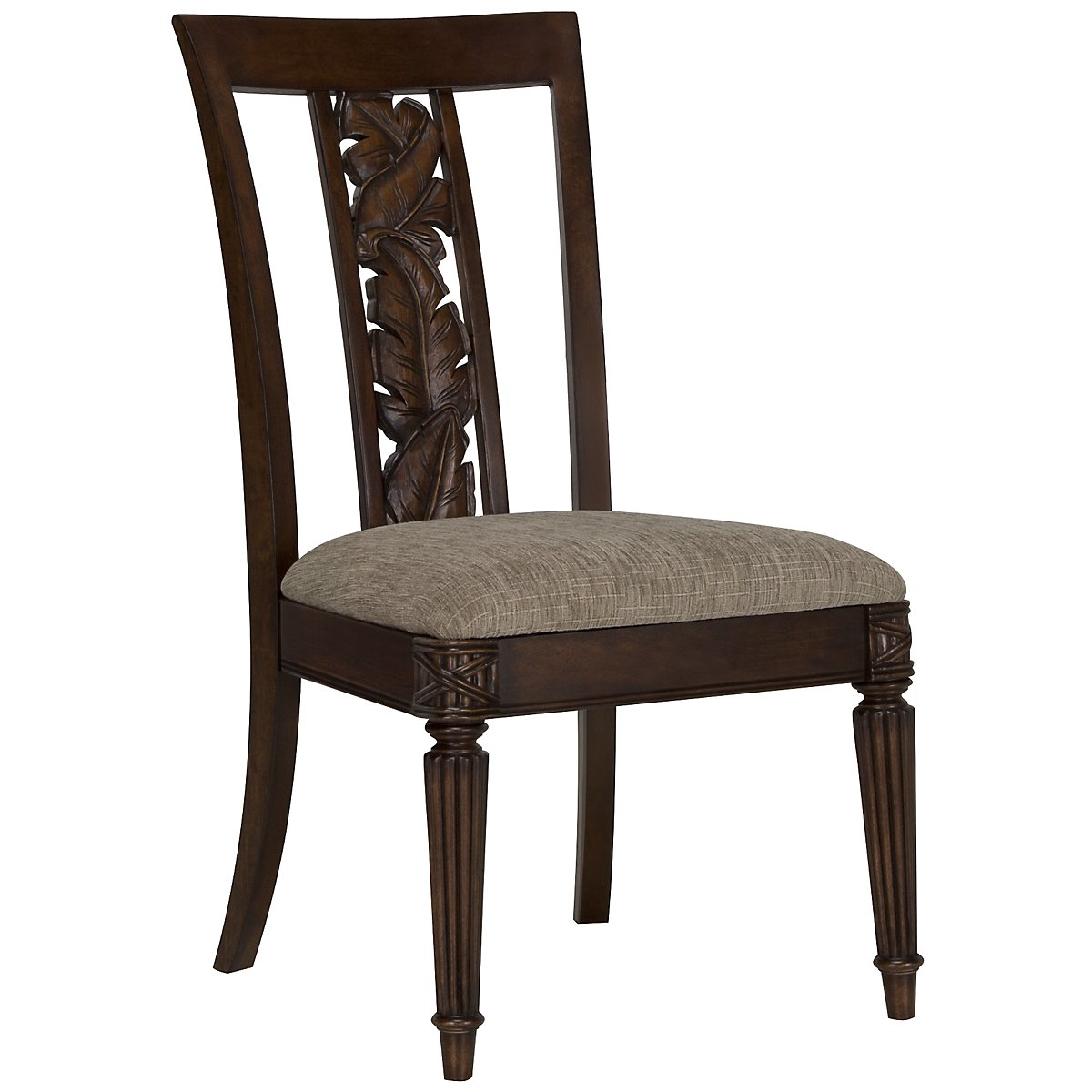 Palm Dark Tone Carved Side Chair