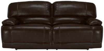 Benson Dark Brown Leather & Vinyl Reclining Sofa