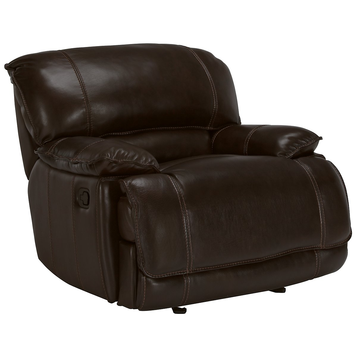 Benson Dark Brown Leather & Vinyl Glider Recliner