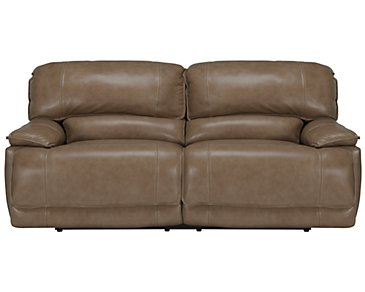Benson Dark Taupe Leather & Vinyl Reclining Sofa