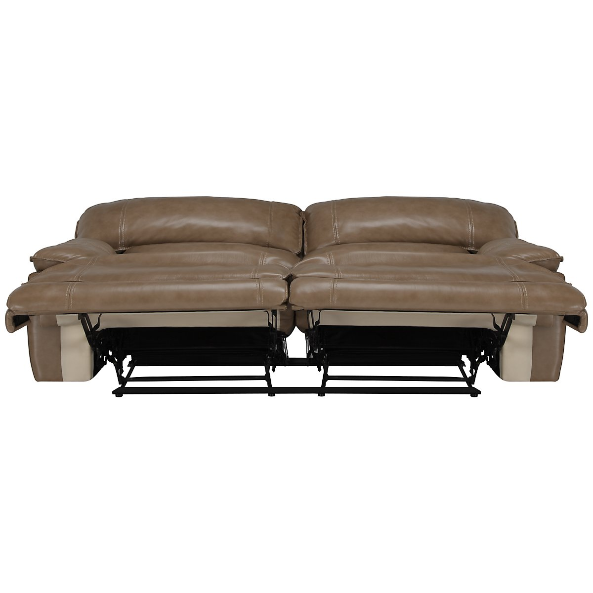 Benson Dark Taupe Leather & Vinyl Reclining Sofa