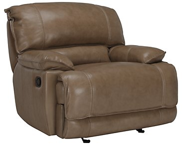 Benson Dark Taupe Leather & Vinyl Glider Recliner