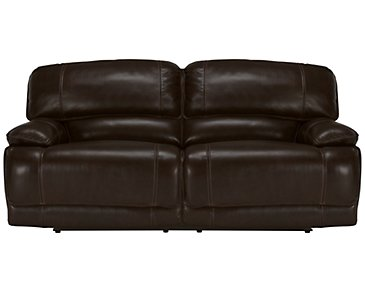 Benson Dark Brown Leather & Vinyl Power Reclining Sofa