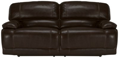 Benson Dark Brown Leather U0026 Vinyl Power Reclining Sofa