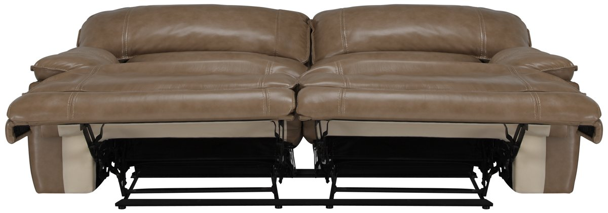 Benson Dark Taupe Leather & Vinyl Power Reclining Sofa
