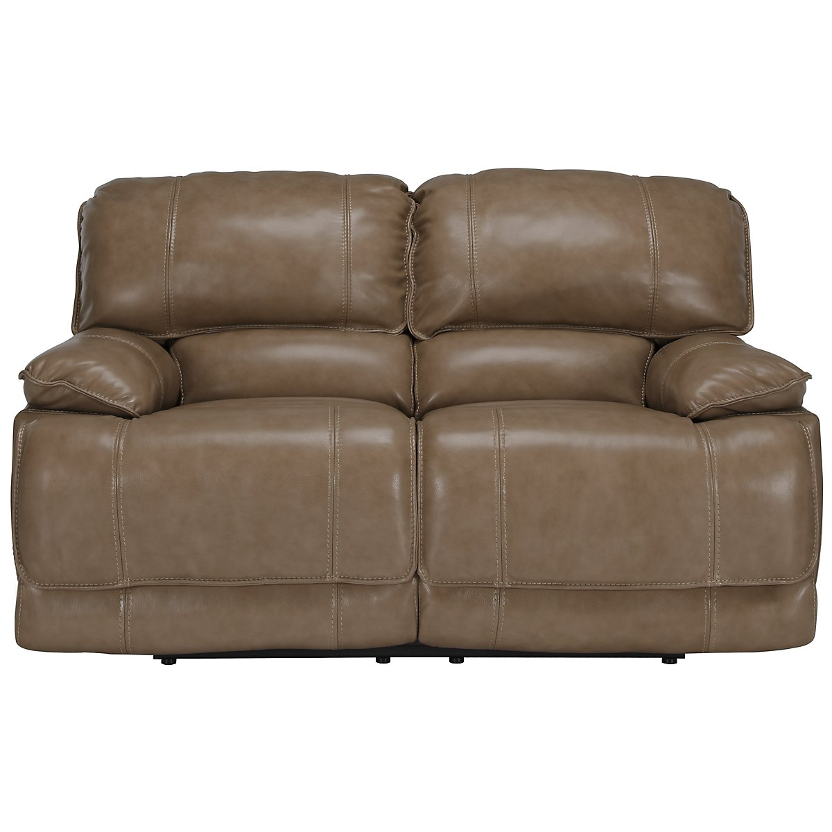 Benson Dark Taupe Leather & Vinyl Power Reclining Loveseat