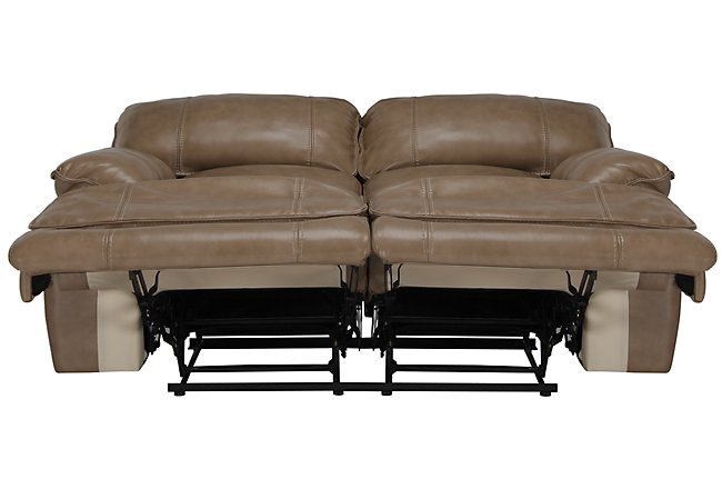 Benson Dark Taupe Lthr/vinyl Power Reclining Loveseat