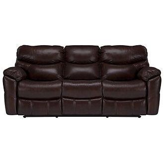 Derek Dark Brown Leather & Vinyl Reclining Sofa