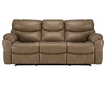 Derek Dark Taupe Leather & Vinyl Power Reclining Sofa