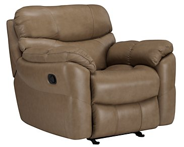 Derek Dark Taupe Leather & Vinyl Power Recliner