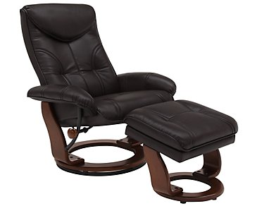 Oliver Dark Brown Bonded Leather Recliner & Ottoman