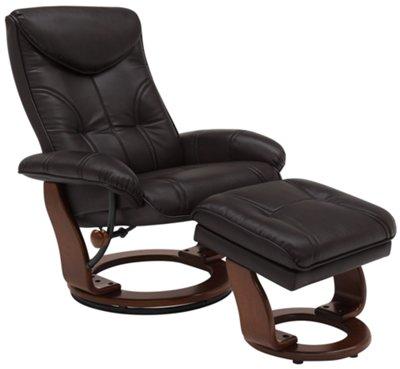 oliver dark brown bonded leather recliner u0026 ottoman - Brown Leather Recliner