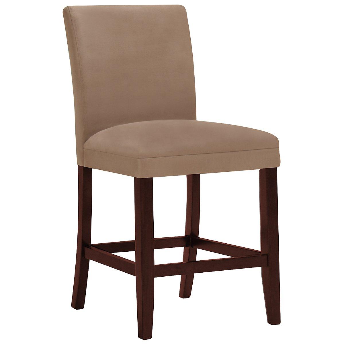 """Park Dark Beige Microfiber 24"""" Upholstered Barstool"""