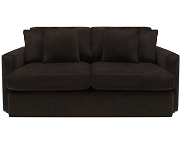 Tara2 Dark Brown Microfiber Loveseat