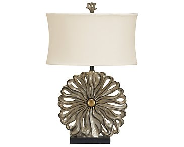 Flower Pewter Table Lamp