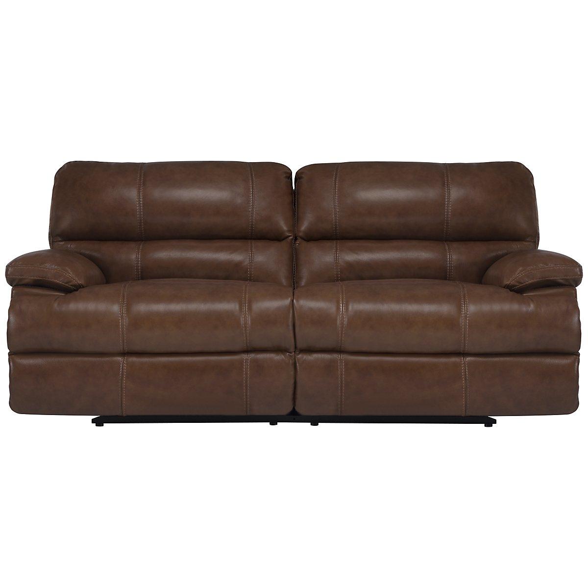Alton2 Medium Brown Leather & Vinyl Power Reclining Sofa