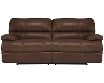 Alton2 Medium Brown Leather & Vinyl Power Reclining Sofa