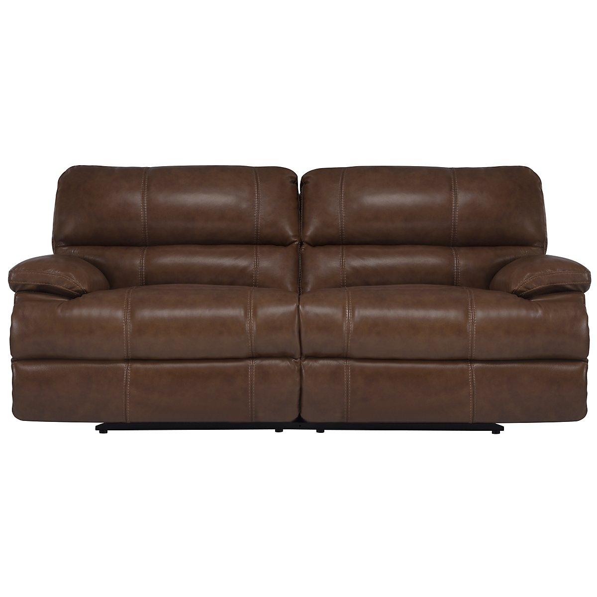 Alton2 Medium Brown Leather & Vinyl Reclining Sofa