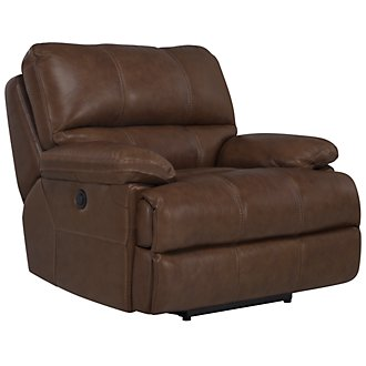 Alton2 Medium Brown Leather & Vinyl Recliner