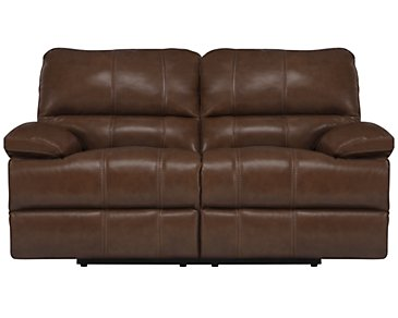 Alton2 Medium Brown Leather & Vinyl Power Reclining Loveseat