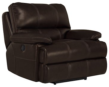 Alton2 Dark Brown Leather & Vinyl Recliner