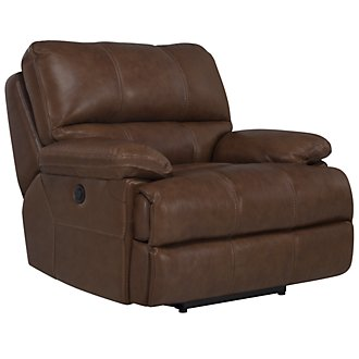 Alton2 Medium Brown Leather & Vinyl Power Recliner