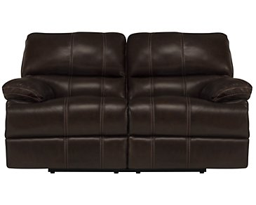 Alton2 Dark Brown Leather & Vinyl Power Reclining Loveseat