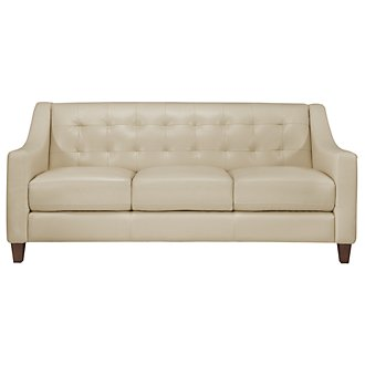 Elise Light Taupe Leather Sofa
