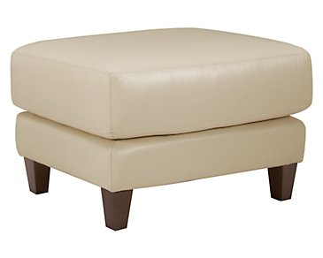 Elise Light Taupe Leather Ottoman