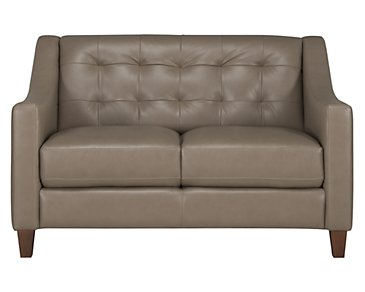 Elise Pewter Leather Loveseat