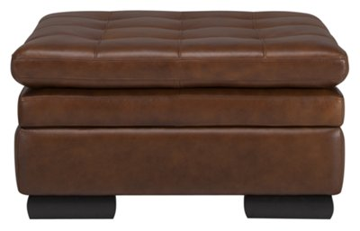 trevor md brown leather storage ottoman