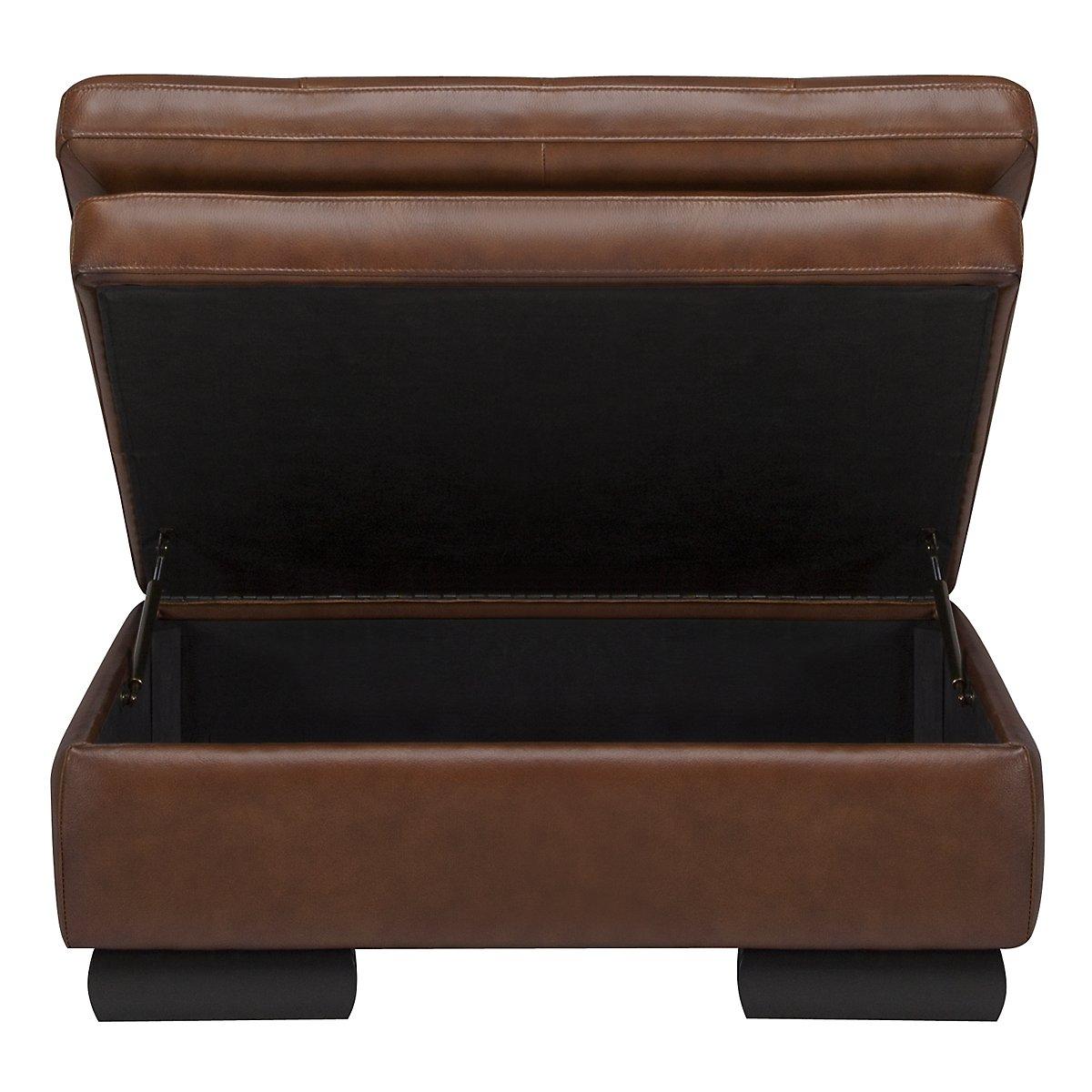 Trevor Medium Brown Leather Storage Ottoman. VIEW LARGER - Trevor Md Brown Leather Storage Ottoman